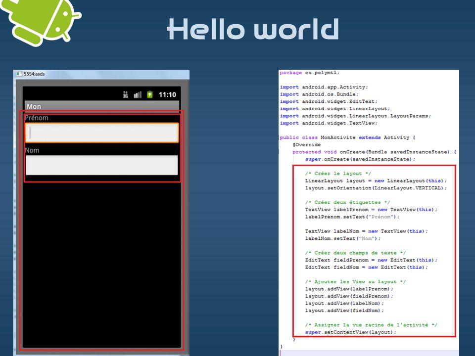 FrameLayout FrameLayout: empile les widgets les un sur les autres Documentation: http://developer.android.com/reference/android/widget/FrameLayout.html