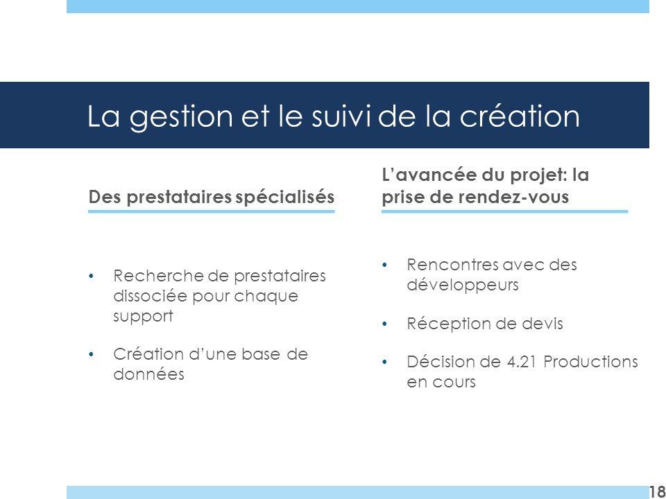 La gestion et le suivi de la création Des prestataires spécialisés Recherche de prestataires dissociée pour chaque support Création dune base de donné