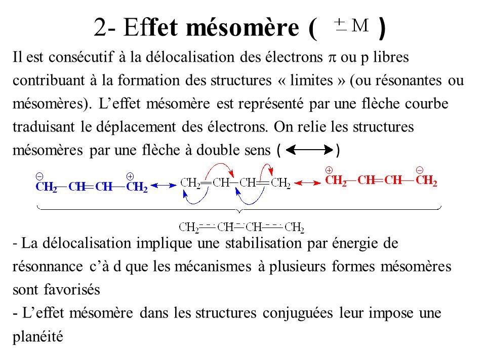 Différents cas de mésomérie 1°) Doubles liaisons conjuguées avec des simples liaisons - cas du benzène Structures limites : - cas du butadiène 2°) Electrons p conjugués avec une double liaison 3°) Cation conjugué avec une double liaison = cation situé en à une double liaison 4°) Electrons p conjugués avec un cation 5°) avec une structure radicalaire