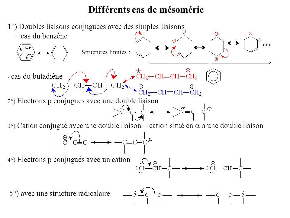 Différents cas de mésomérie 1°) Doubles liaisons conjuguées avec des simples liaisons - cas du benzène Structures limites : - cas du butadiène 2°) Ele