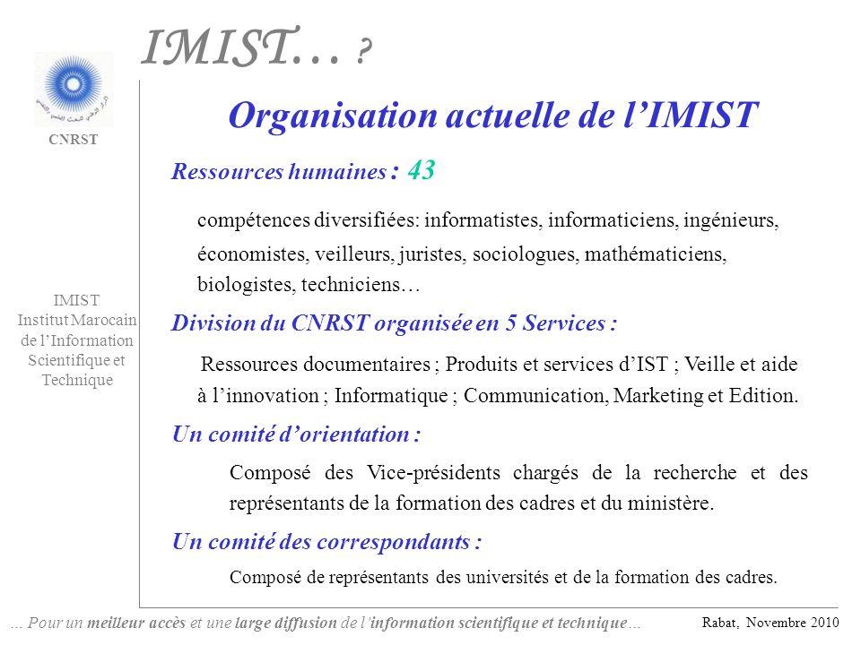 … Pour un meilleur accès et une large diffusion de linformation scientifique et technique… Rabat, Novembre 2010 IMIST Institut Marocain de lInformatio