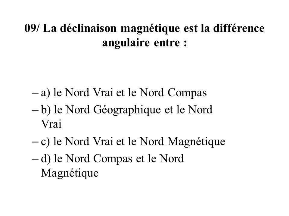 09/ La déclinaison magnétique est la différence angulaire entre : – a) le Nord Vrai et le Nord Compas – b) le Nord Géographique et le Nord Vrai – c) le Nord Vrai et le Nord Magnétique – d) le Nord Compas et le Nord Magnétique