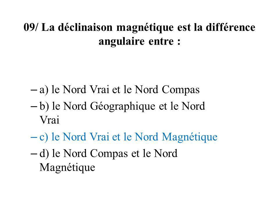 09/ La déclinaison magnétique est la différence angulaire entre : – a) le Nord Vrai et le Nord Compas – b) le Nord Géographique et le Nord Vrai – c) l