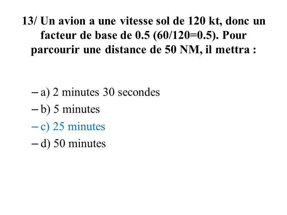 13/ Un avion a une vitesse sol de 120 kt, donc un facteur de base de 0.5 (60/120=0.5). Pour parcourir une distance de 50 NM, il mettra : – a) 2 minute