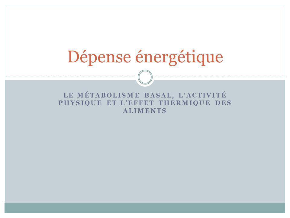 LE MÉTABOLISME BASAL, LACTIVITÉ PHYSIQUE ET LEFFET THERMIQUE DES ALIMENTS Dépense énergétique