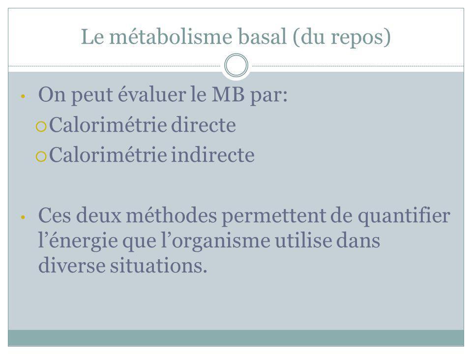 Le métabolisme basal (du repos) On peut évaluer le MB par: Calorimétrie directe Calorimétrie indirecte Ces deux méthodes permettent de quantifier léne