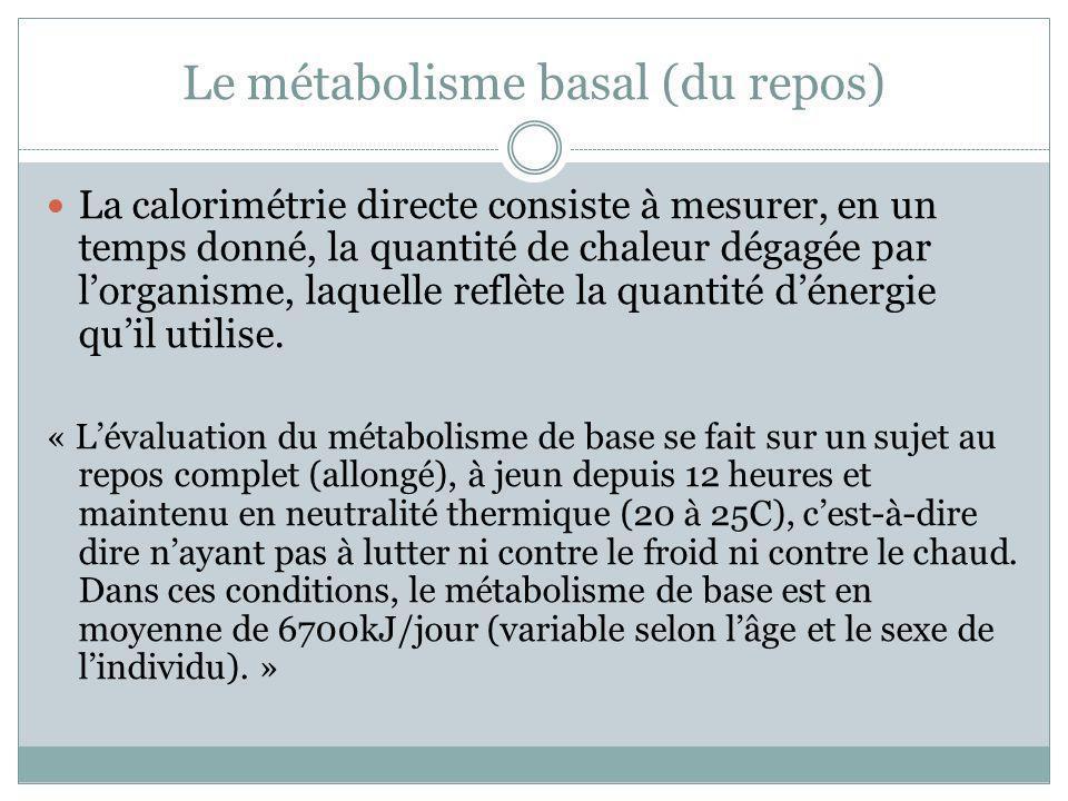 Le métabolisme basal (du repos) La calorimétrie directe consiste à mesurer, en un temps donné, la quantité de chaleur dégagée par lorganisme, laquelle