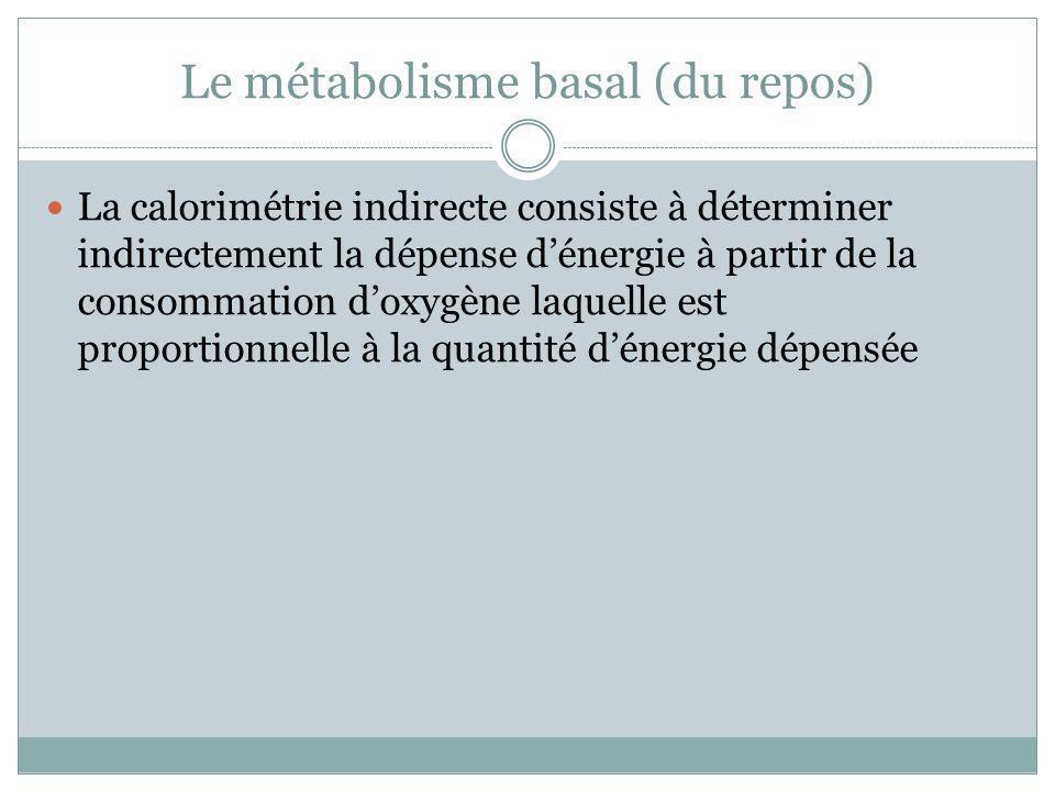 Le métabolisme basal (du repos) La calorimétrie indirecte consiste à déterminer indirectement la dépense dénergie à partir de la consommation doxygène
