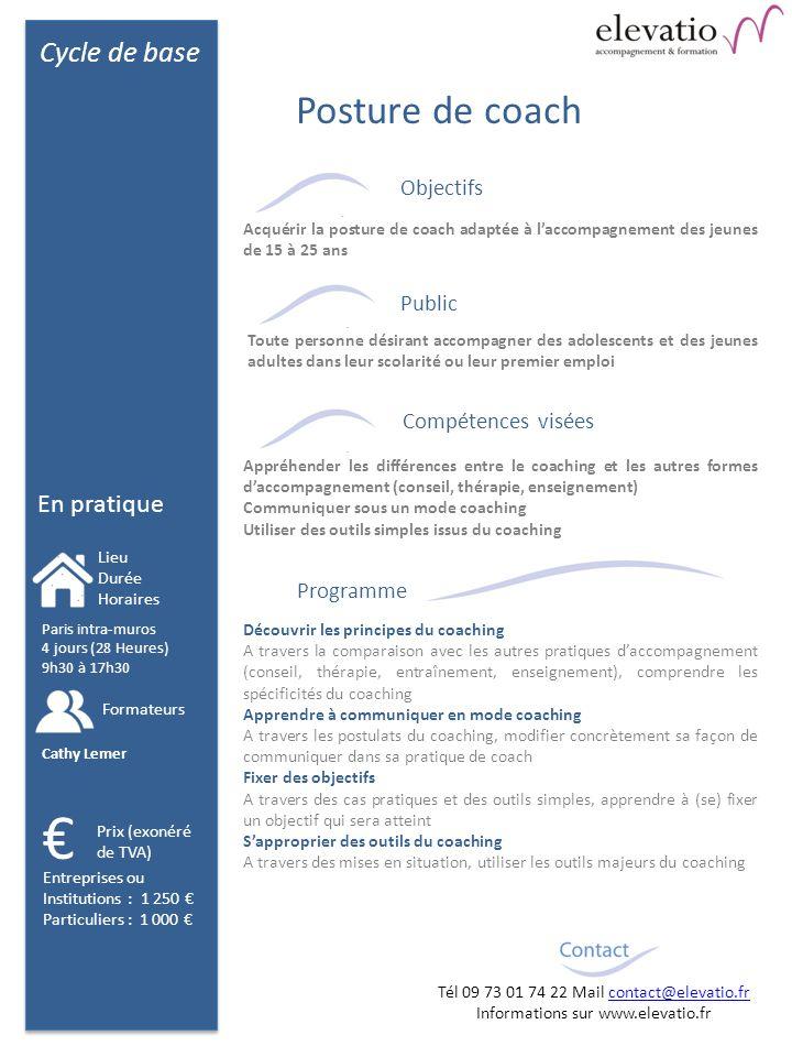 Cycle de base En pratique Objectifs Public Compétences visées Programme Découvrir les principes du coaching A travers la comparaison avec les autres p