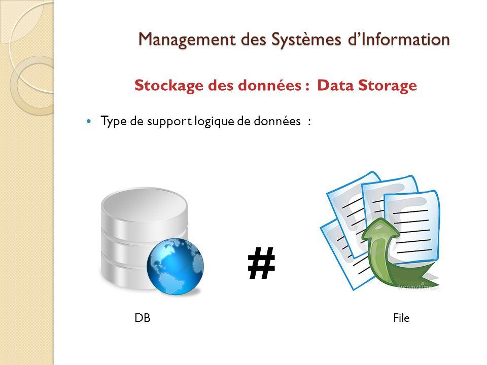 Management des Systèmes dInformation Stockage des données : Data Storage Type de support logique de données : # DBFile
