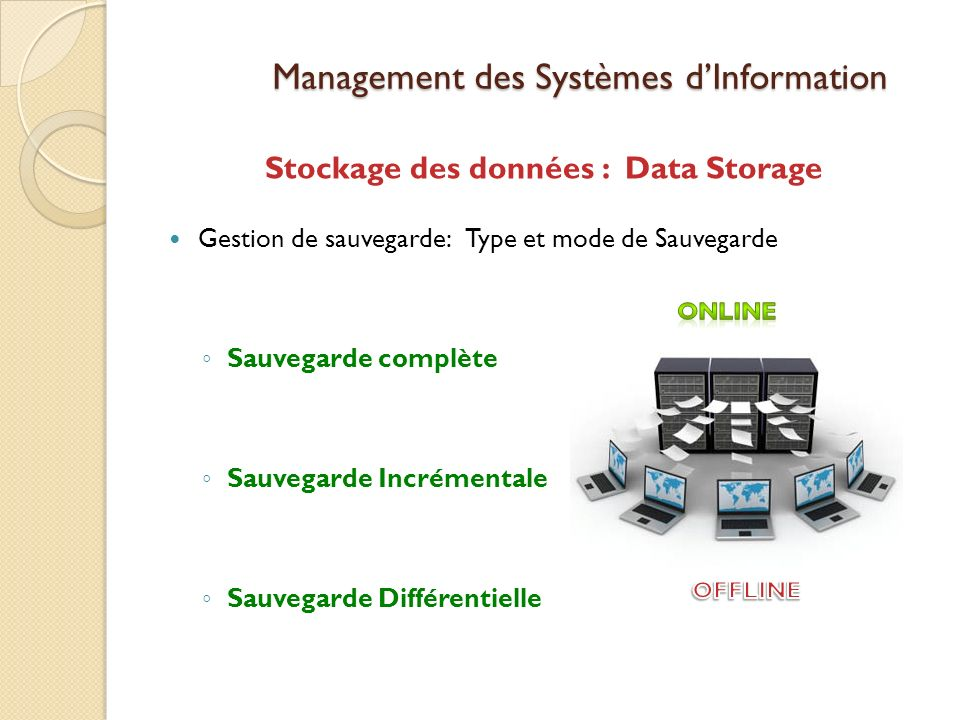 Management des Systèmes dInformation Stockage des données : Data Storage Gestion de sauvegarde: Type et mode de Sauvegarde Sauvegarde complète Sauvegarde Incrémentale Sauvegarde Différentielle