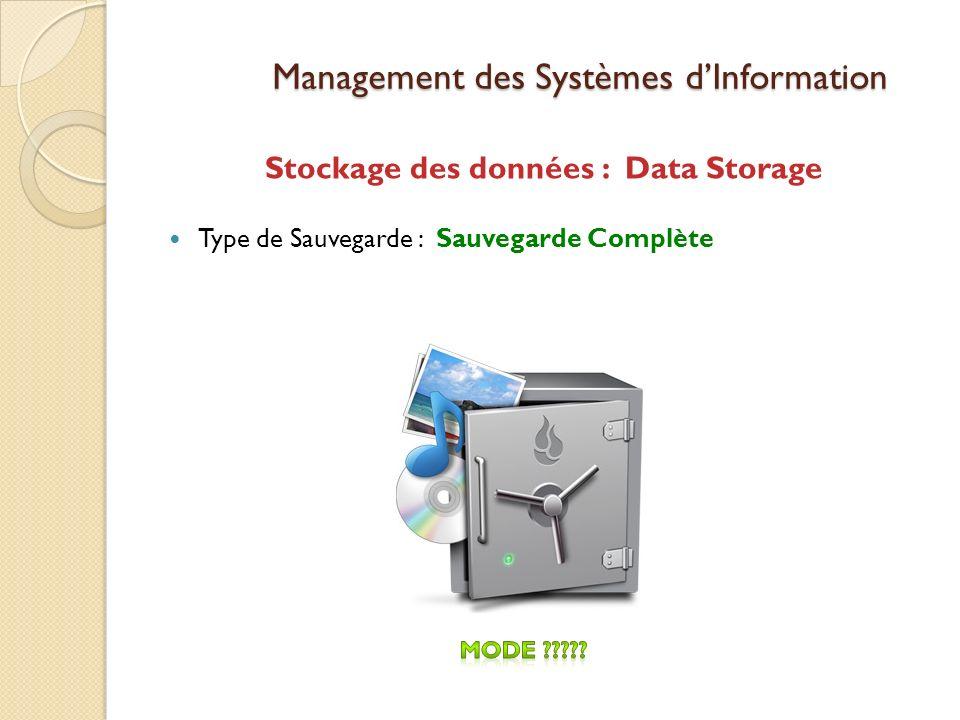 Management des Systèmes dInformation Stockage des données : Data Storage Type de Sauvegarde : Sauvegarde Complète