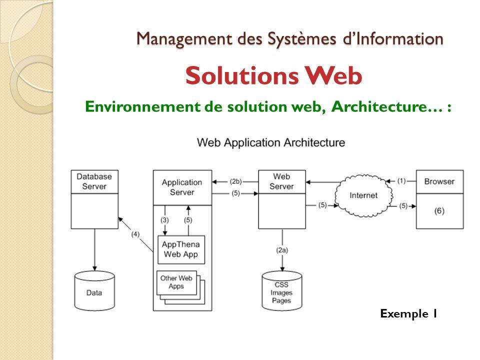 Management des Systèmes dInformation Solutions Web Environnement de solution web, Architecture… : Exemple 1