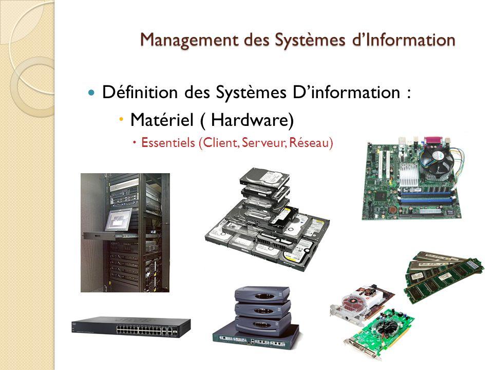 Management des Systèmes dInformation Définition des Systèmes Dinformation : Matériel ( Hardware) Essentiels (Client, Serveur, Réseau)