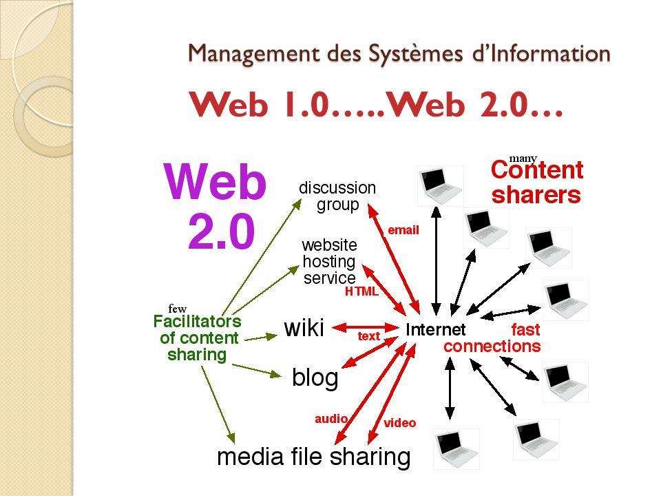 Management des Systèmes dInformation Web 1.0…..Web 2.0…