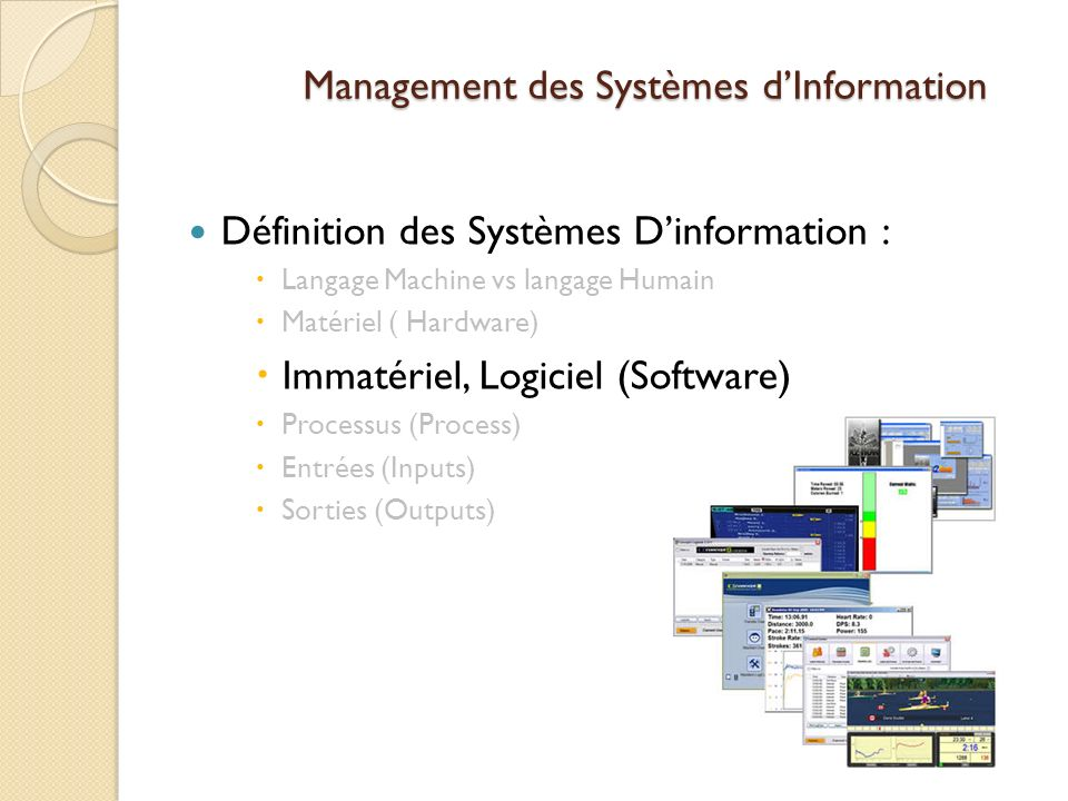 Management des Systèmes dInformation Définition des Systèmes Dinformation : Langage Machine vs langage Humain Matériel ( Hardware) Immatériel, Logiciel (Software) Processus (Process) Entrées (Inputs) Sorties (Outputs)