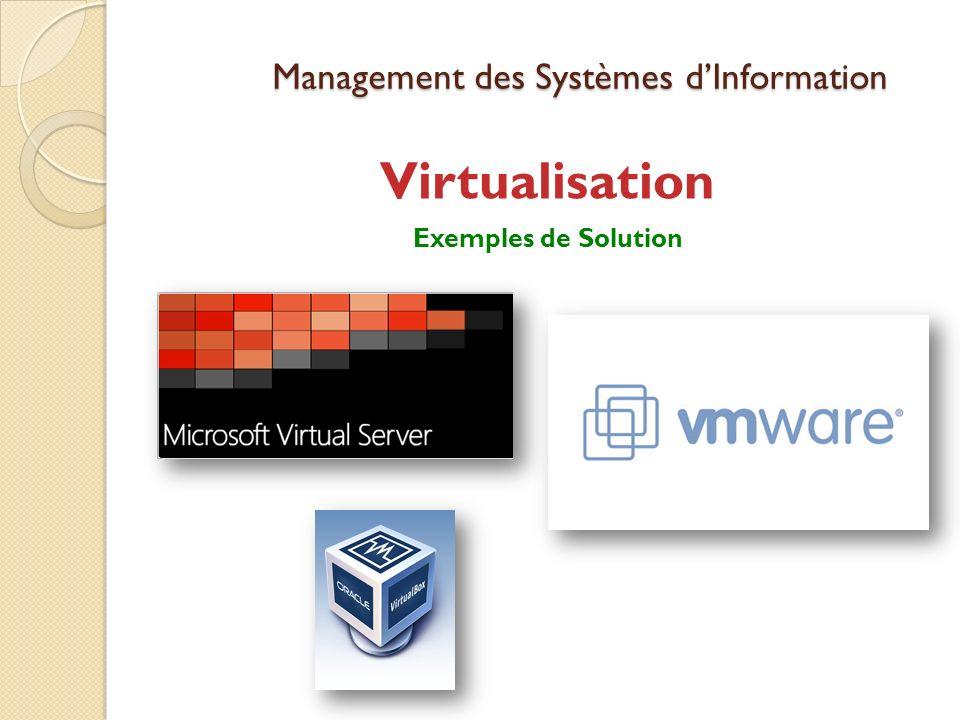 Management des Systèmes dInformation Virtualisation Exemples de Solution