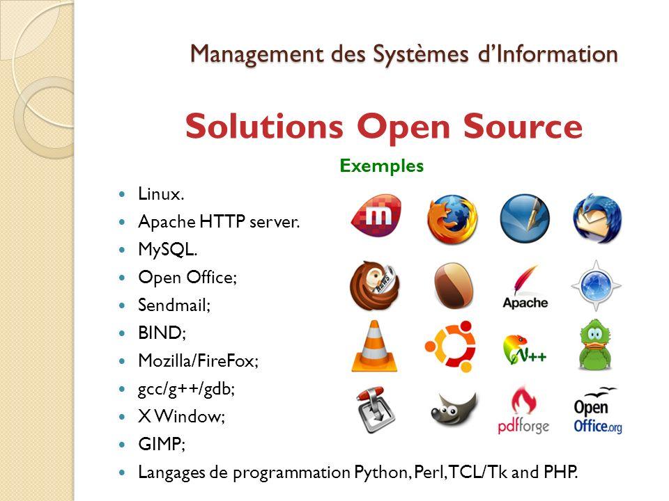 Management des Systèmes dInformation Solutions Open Source Exemples Linux.
