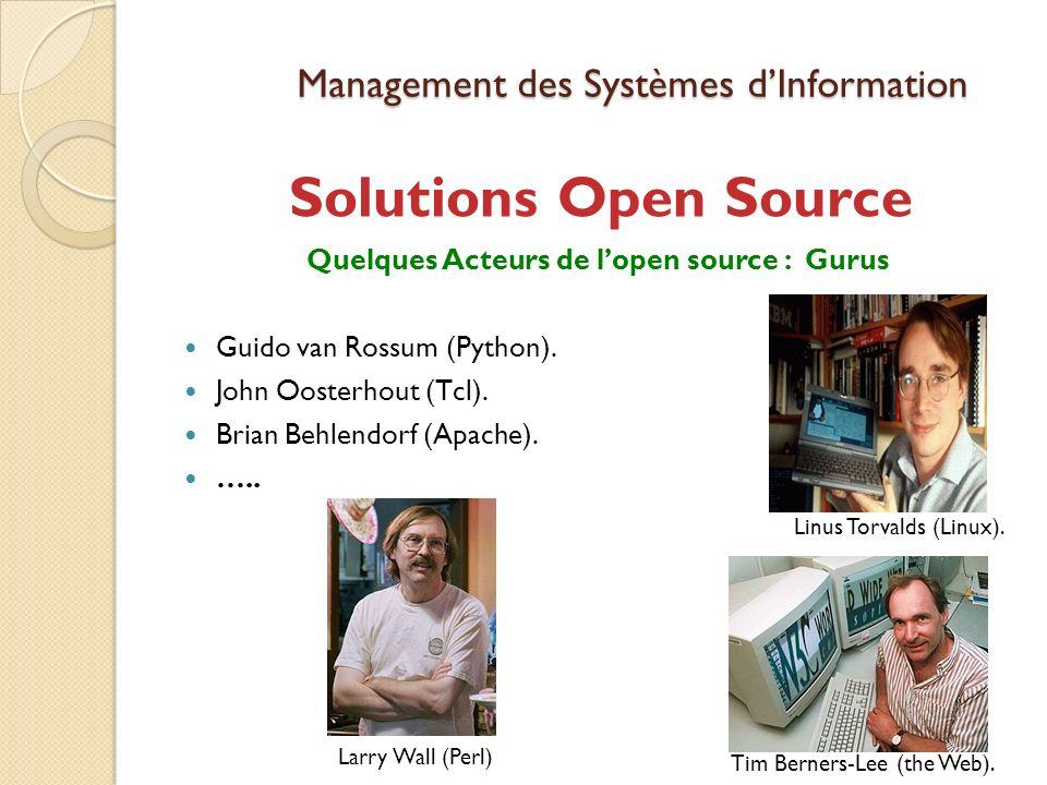 Management des Systèmes dInformation Solutions Open Source Quelques Acteurs de lopen source : Gurus Guido van Rossum (Python).