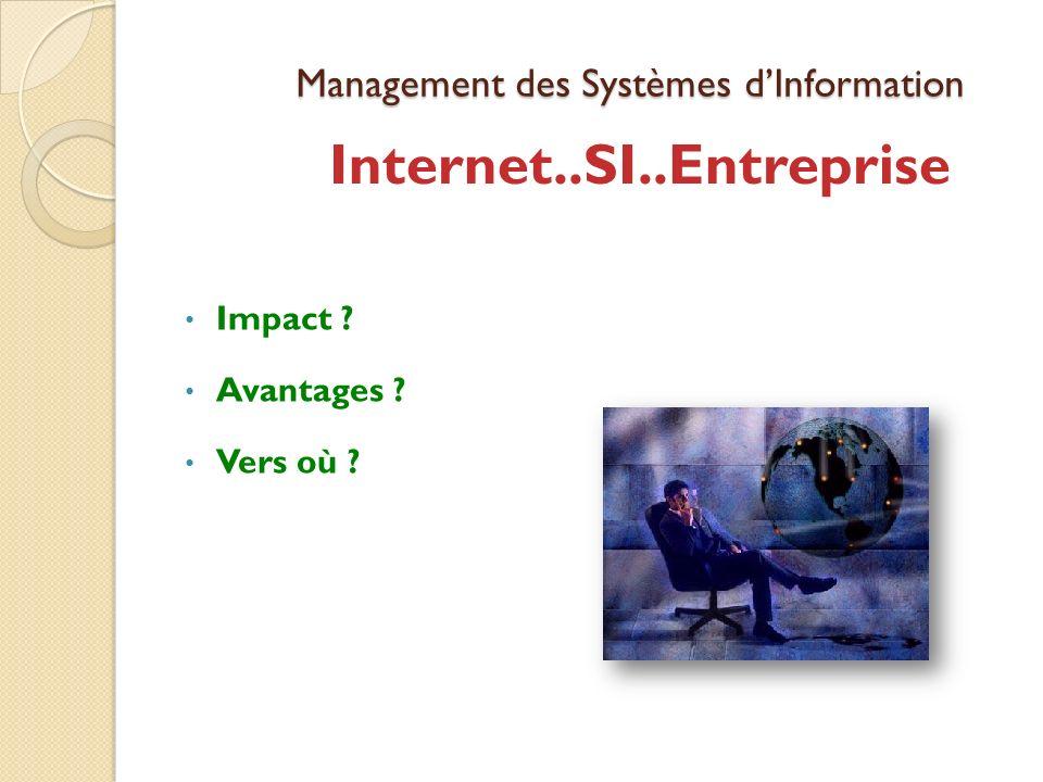 Management des Systèmes dInformation Internet..SI..Entreprise Impact ? Avantages ? Vers où ?