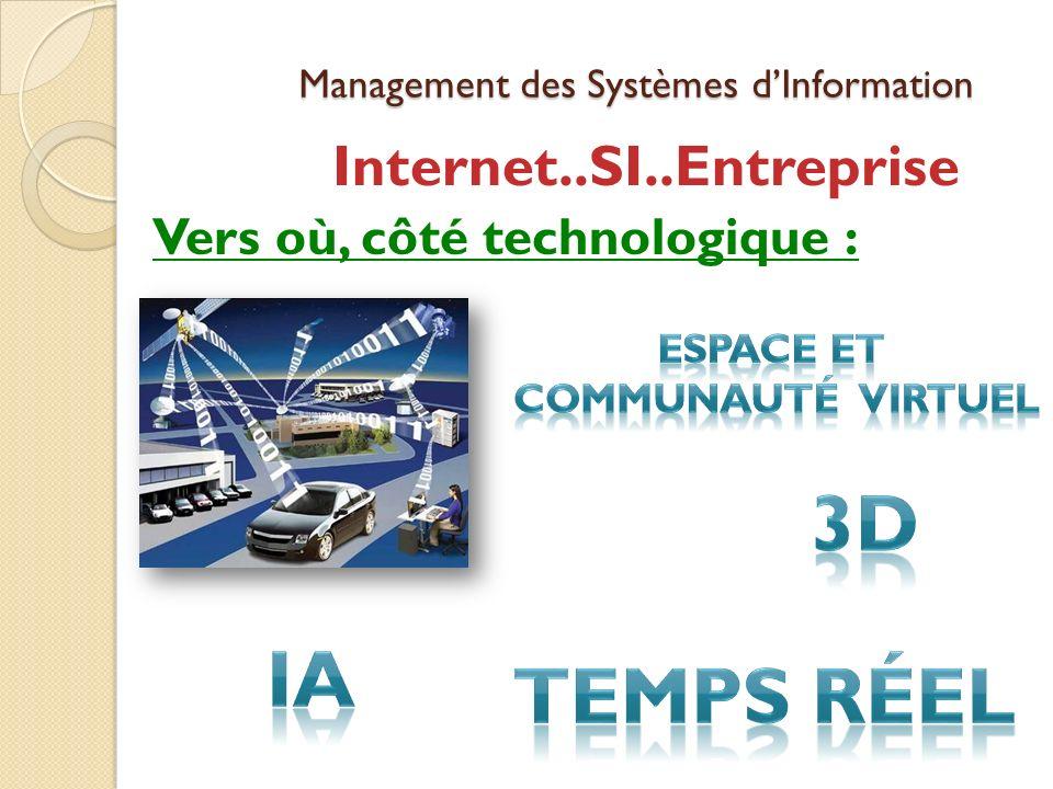 Management des Systèmes dInformation Internet..SI..Entreprise Vers où, côté technologique :