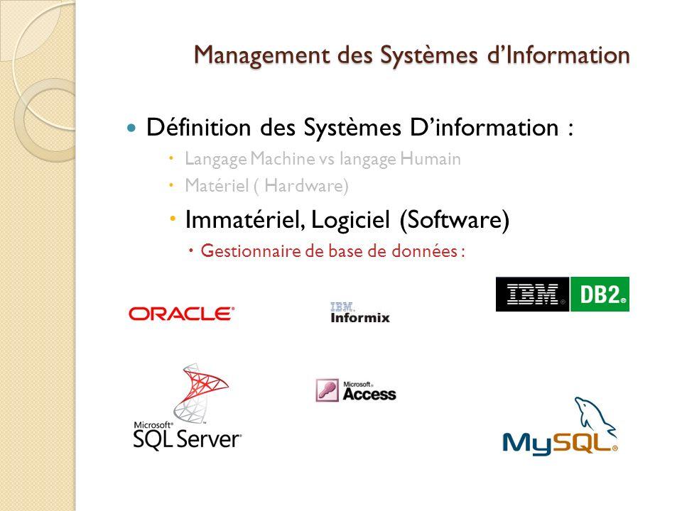 Management des Systèmes dInformation Définition des Systèmes Dinformation : Langage Machine vs langage Humain Matériel ( Hardware) Immatériel, Logiciel (Software) Gestionnaire de base de données :