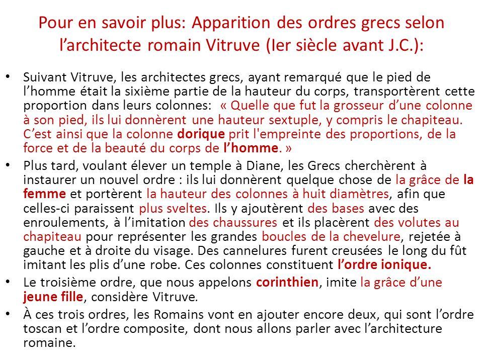 Pour en savoir plus: Apparition des ordres grecs selon larchitecte romain Vitruve (Ier siècle avant J.C.): Suivant Vitruve, les architectes grecs, aya