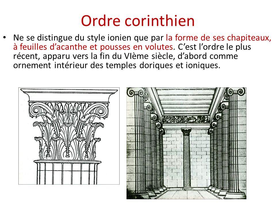 Ordre corinthien Ne se distingue du style ionien que par la forme de ses chapiteaux, à feuilles dacanthe et pousses en volutes. Cest lordre le plus ré