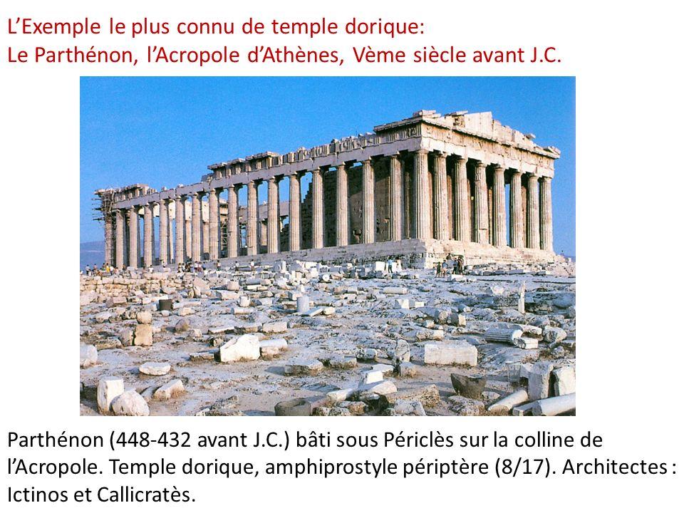 LExemple le plus connu de temple dorique: Le Parthénon, lAcropole dAthènes, Vème siècle avant J.C. Parthénon (448-432 avant J.C.) bâti sous Périclès s