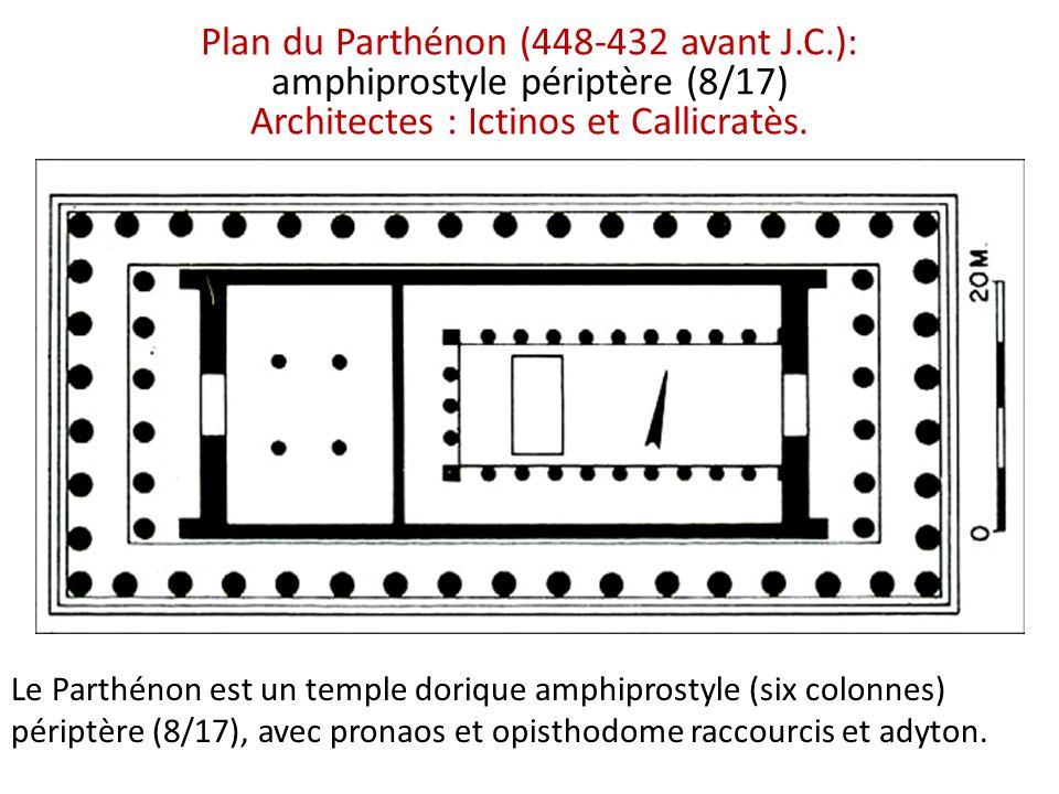 Plan du Parthénon (448-432 avant J.C.): amphiprostyle périptère (8/17) Architectes : Ictinos et Callicratès. Le Parthénon est un temple dorique amphip