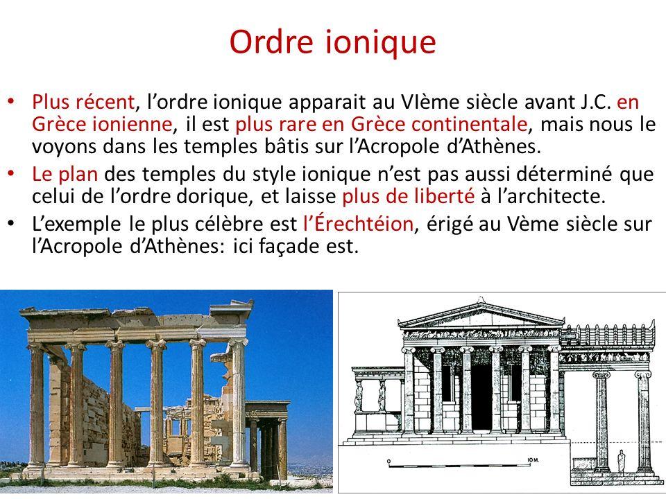 Ordre ionique Plus récent, lordre ionique apparait au VIème siècle avant J.C. en Grèce ionienne, il est plus rare en Grèce continentale, mais nous le