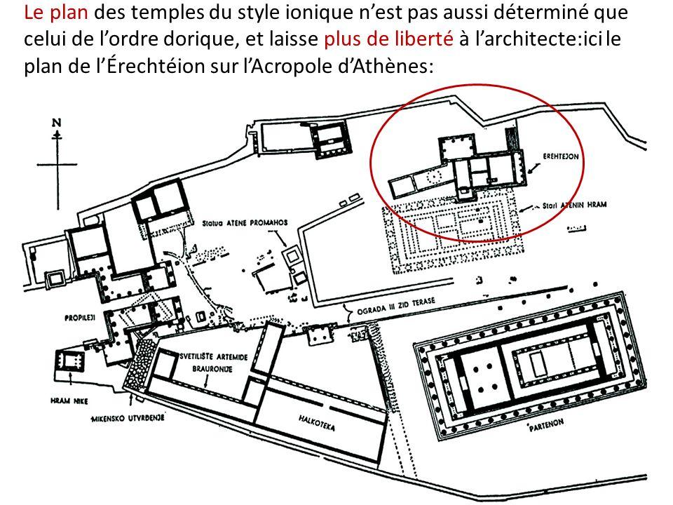 Le plan des temples du style ionique nest pas aussi déterminé que celui de lordre dorique, et laisse plus de liberté à larchitecte:ici le plan de lÉre