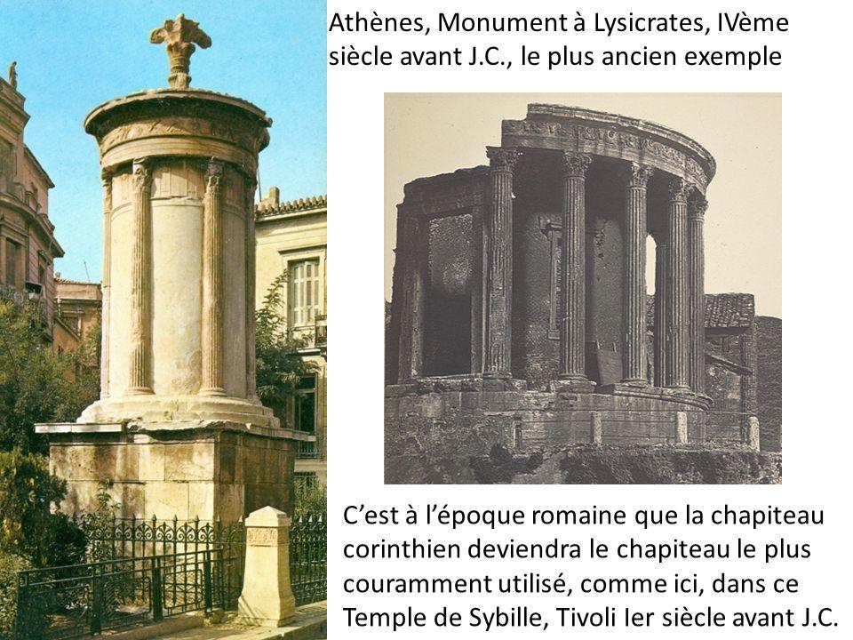 Cest à lépoque romaine que la chapiteau corinthien deviendra le chapiteau le plus couramment utilisé, comme ici, dans ce Temple de Sybille, Tivoli Ier