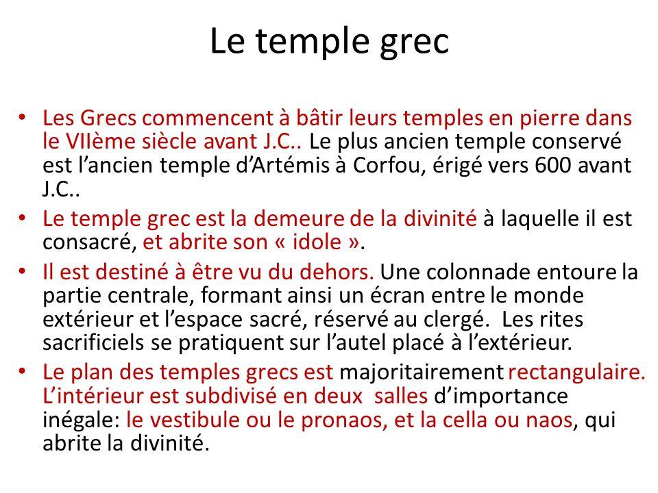 Exemples de temples grecs À retenir: Dorique: Parthénon (Vème siècle avant J.C., lAcropole dAthènes) Ionique: LÉrechtéion (Vème siècle, lAcropole dAthènes)