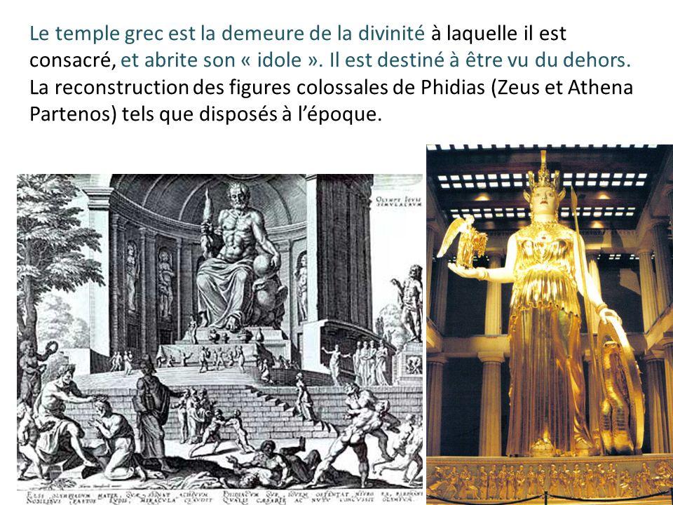 Le temple grec est la demeure de la divinité à laquelle il est consacré, et abrite son « idole ». Il est destiné à être vu du dehors. La reconstructio