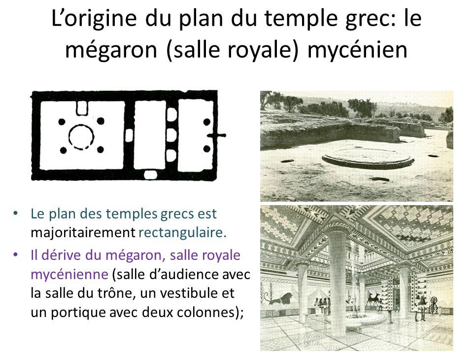 Lorigine du plan du temple grec: le mégaron (salle royale) mycénien Le plan des temples grecs est majoritairement rectangulaire. Il dérive du mégaron,