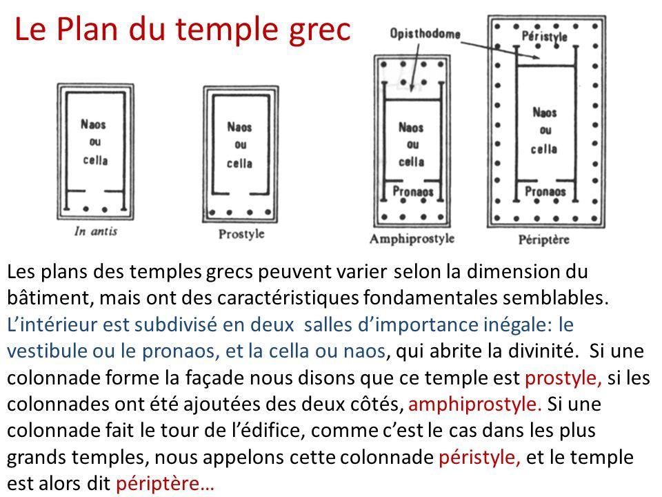 Les plans des temples grecs peuvent varier selon la dimension du bâtiment, mais ont des caractéristiques fondamentales semblables. Lintérieur est subd