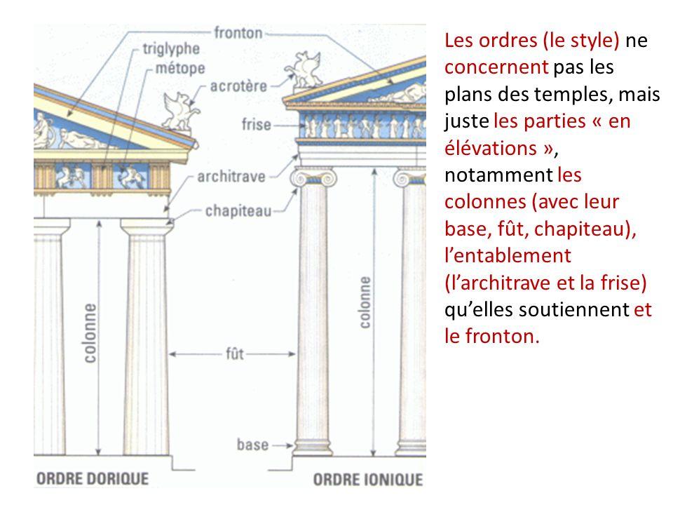 Les ordres (le style) ne concernent pas les plans des temples, mais juste les parties « en élévations », notamment les colonnes (avec leur base, fût,