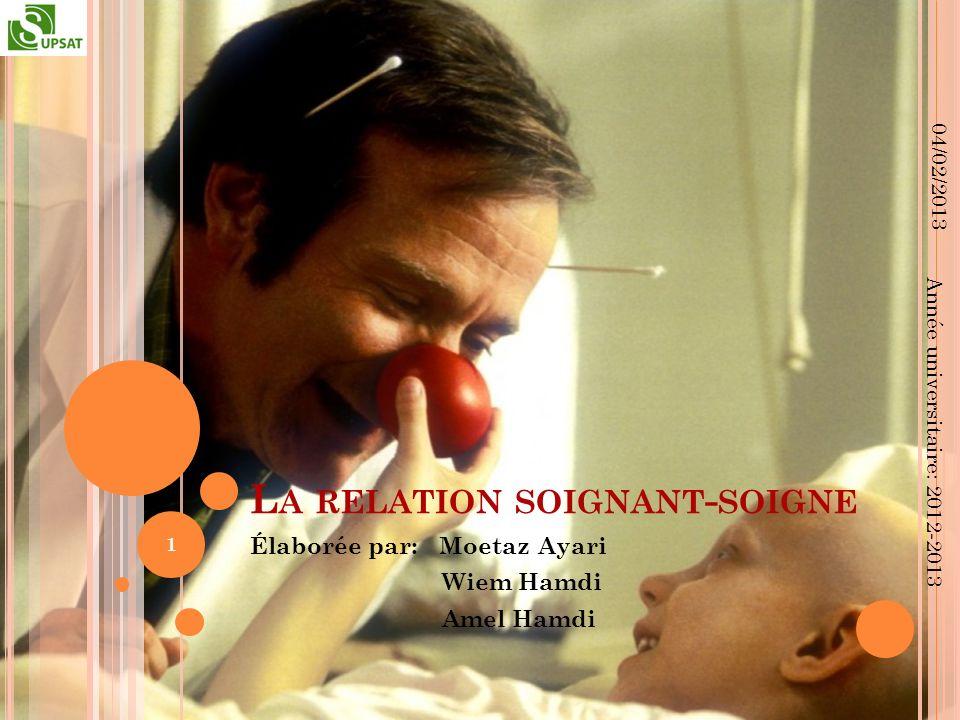 L A RELATION SOIGNANT - SOIGNE Élaborée par: Moetaz Ayari Wiem Hamdi Amel Hamdi 04/02/2013 1 Année universitaire: 2012-2013