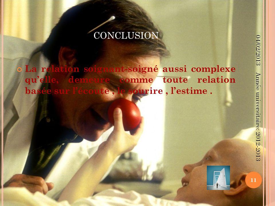 CONCLUSION La relation soignant-soigné aussi complexe quelle, demeure comme toute relation basée sur lécoute, le sourire, lestime. 04/02/2013 11 Année