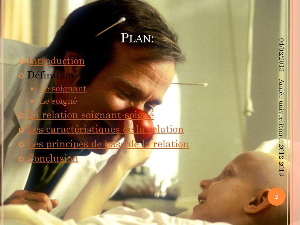 P LAN : Introduction Définitions : Le soignant Le soigné La relation soignant-soigné Les caractéristiques de la relation Les principes de base de la r