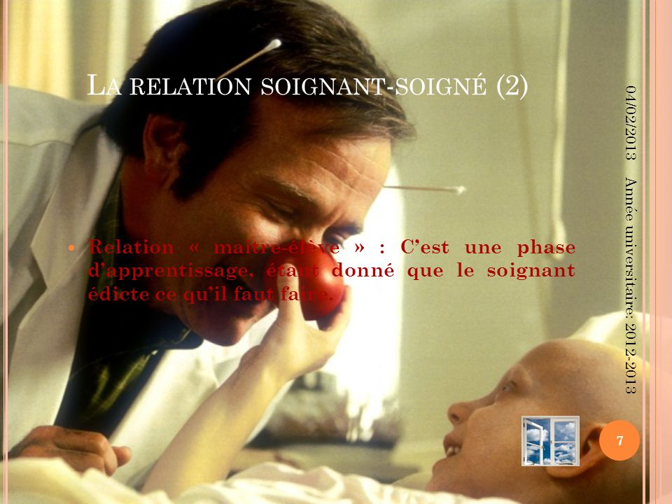L A RELATION SOIGNANT - SOIGNÉ (2) Relation « maitre-élève » : Cest une phase dapprentissage, étant donné que le soignant édicte ce quil faut faire. 0