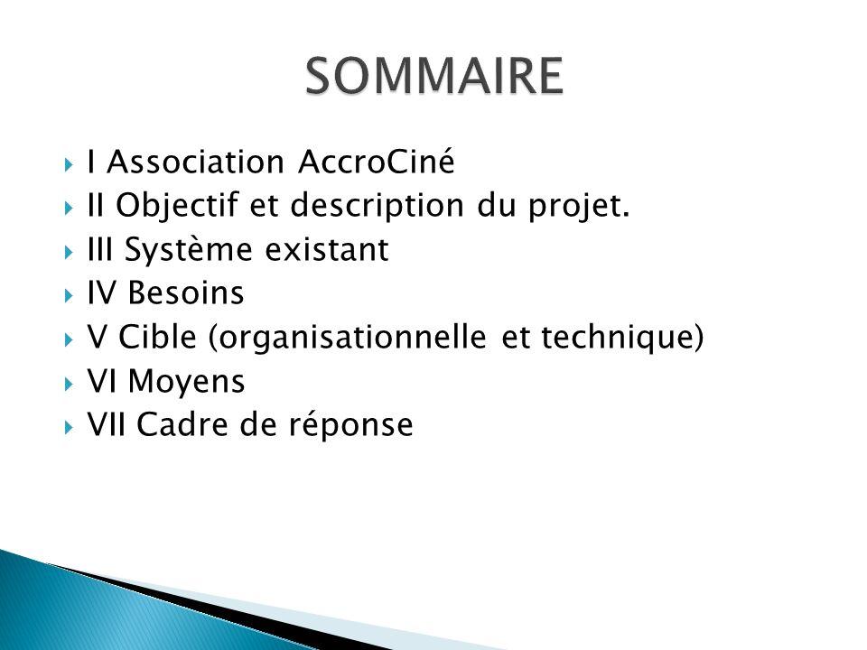 I Association AccroCiné II Objectif et description du projet. III Système existant IV Besoins V Cible (organisationnelle et technique) VI Moyens VII C