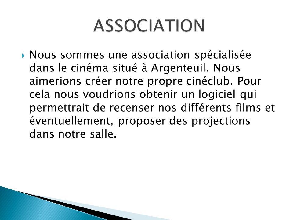 Nous sommes une association spécialisée dans le cinéma situé à Argenteuil. Nous aimerions créer notre propre cinéclub. Pour cela nous voudrions obteni