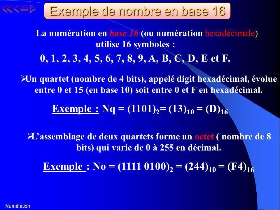 Numération Exemple de nombre en base 16 La numération en base 16 (ou numération hexadécimale) utilise 16 symboles : 0, 1, 2, 3, 4, 5, 6, 7, 8, 9, A, B