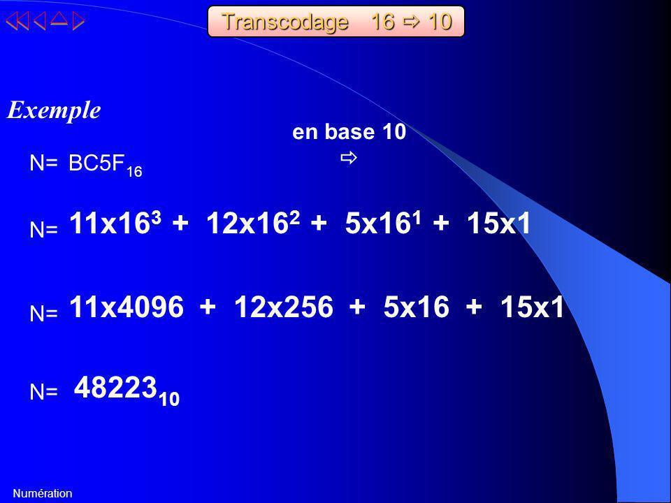 Numération BC5F 16 11x16 3 + 12x16 2 + 5x16 1 + 15x1 48223 10 Exemple en base 10 N= 11x4096 + 12x256 + 5x16 + 15x1 N= Transcodage 16 10
