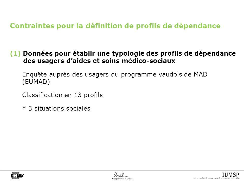 Institut universitaire de médecine sociale et préventive Contraintes pour la définition de profils de dépendance (1) Données pour établir une typologi