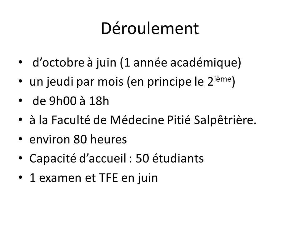 Déroulement doctobre à juin (1 année académique) un jeudi par mois (en principe le 2 ième ) de 9h00 à 18h à la Faculté de Médecine Pitié Salpêtrière.