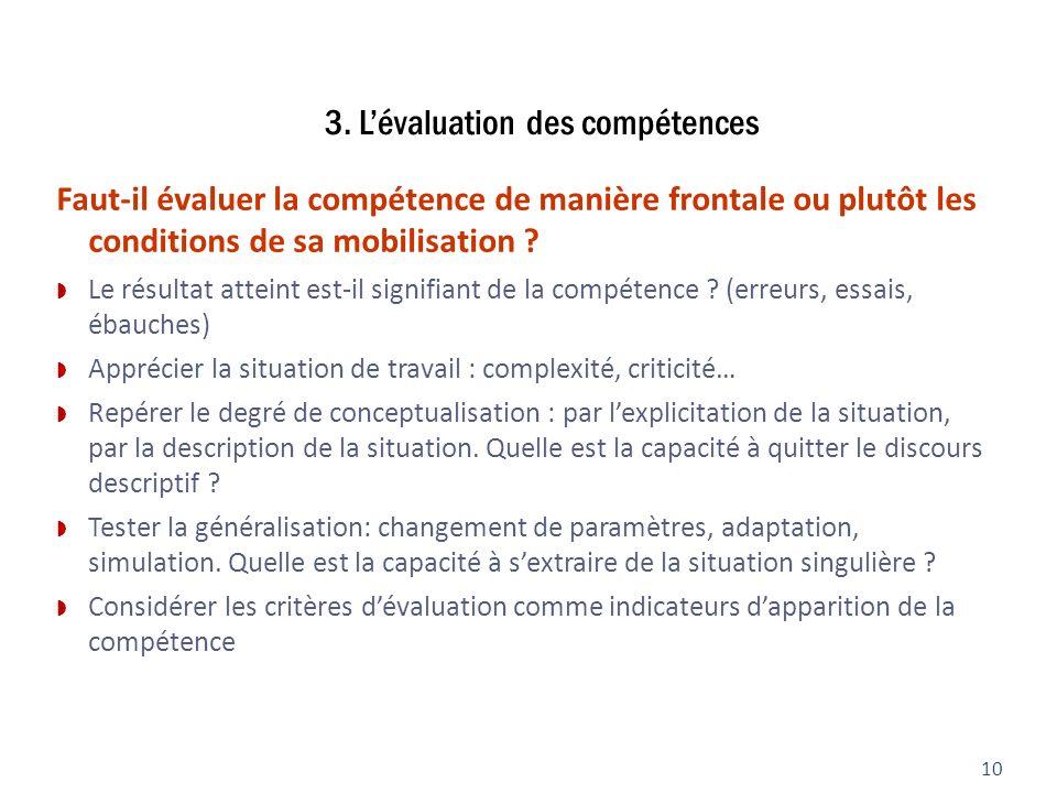 3. Lévaluation des compétences 10 Faut-il évaluer la compétence de manière frontale ou plutôt les conditions de sa mobilisation ? Le résultat atteint