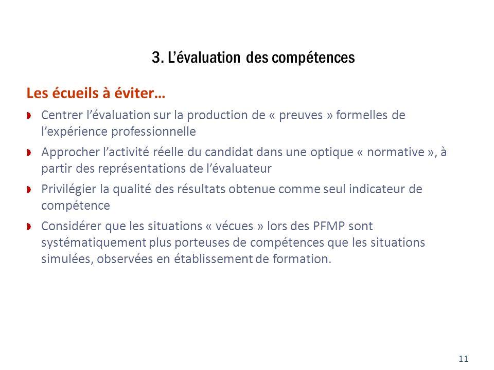 3. Lévaluation des compétences 11 Les écueils à éviter… Centrer lévaluation sur la production de « preuves » formelles de lexpérience professionnelle